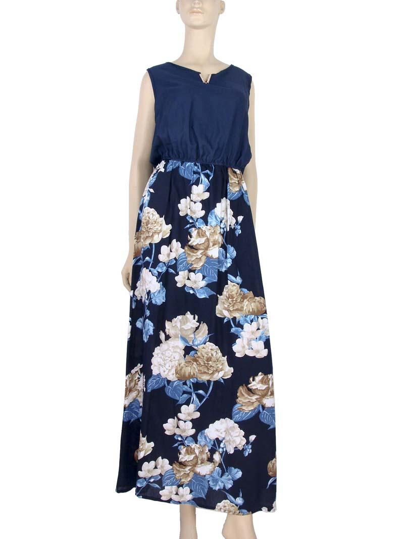 bd24bfad5 Vestido Longo Estampa Floral Rosas Azul – AMAMODA