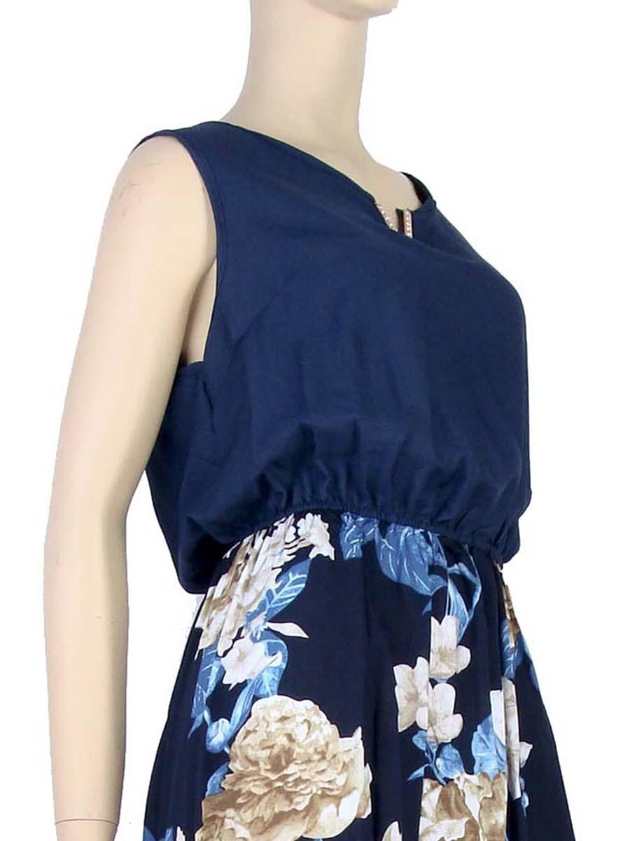 d7339c84a Vestido Longo Estampa Floral Rosas Azul – AMAMODA
