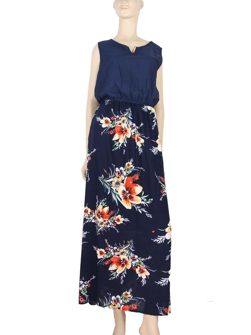 58fc0e1af Vestido Longo Estampa Floral Hibisco Azul – AMAMODA