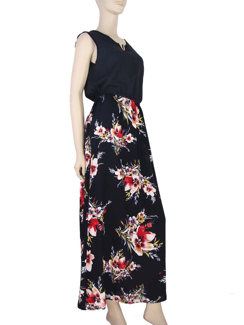 d13fcccfe Vestido Longo Estampa Floral Hibisco Preto – AMAMODA