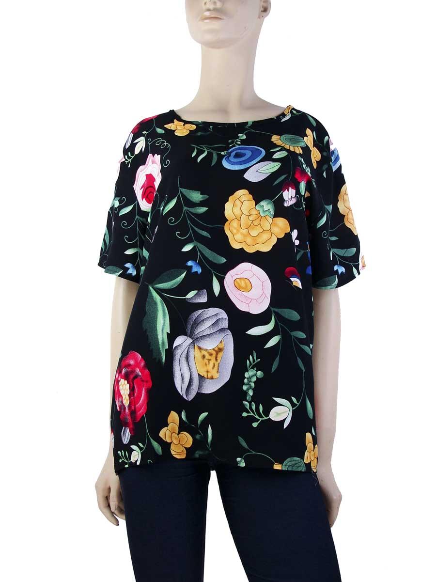 ad4baced6 Blusa Plus Size Floral Viscose Preto – AMAMODA