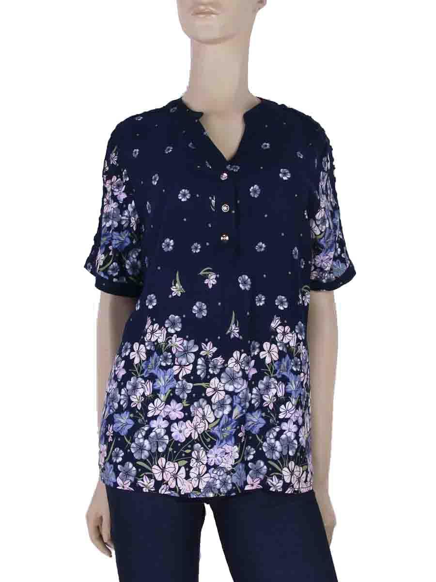 ab11306b76 Bata Estampa Floral Renda Azul Marinho – AMAMODA
