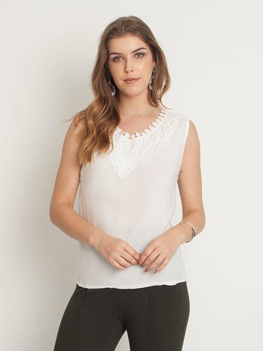 79c595624f Blusa Regata Viscose Renda Floral Branco – AMAMODA