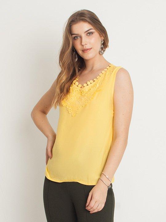 166fe2f2bb Blusa Regata Viscose Renda Floral Amarelo – AMAMODA