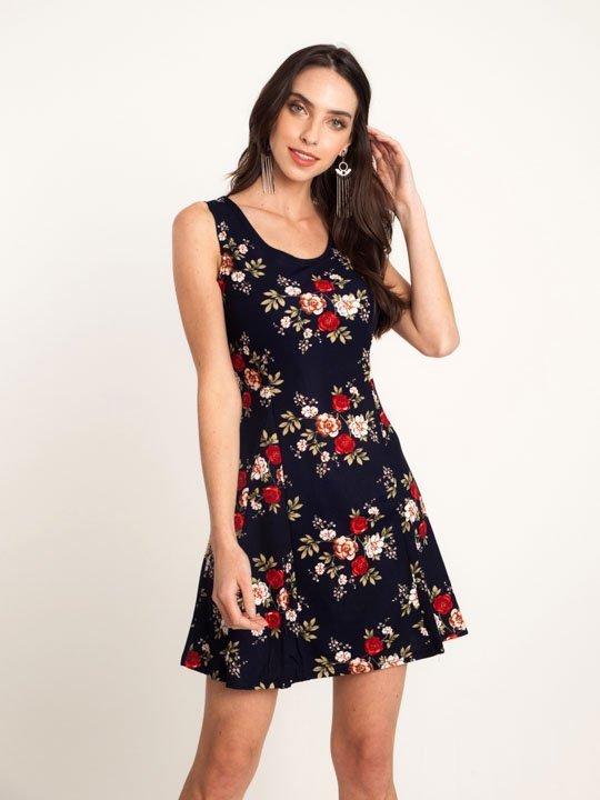 61168b738 Vestido Malha Estampa Floral Azul – AMAMODA