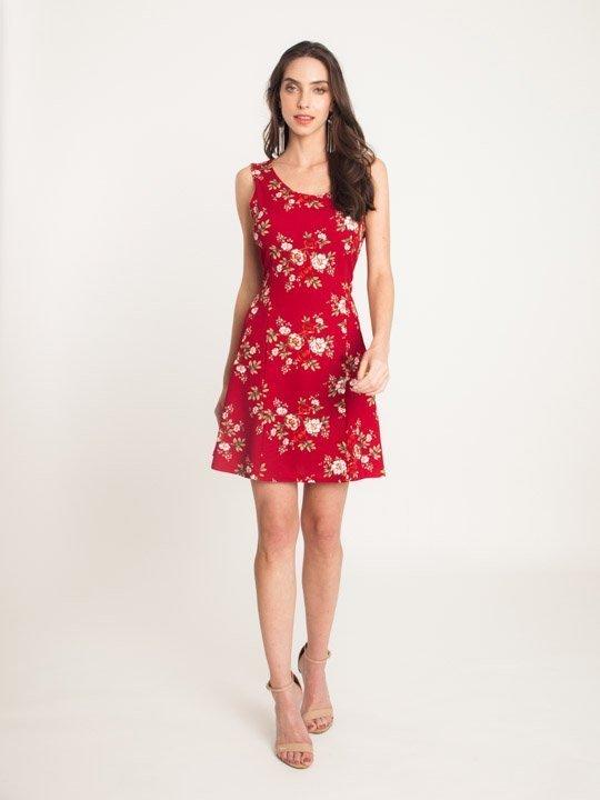 babe2c738 Vestido Malha Estampa Floral Vemelho – AMAMODA