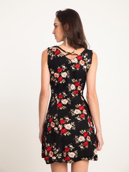 2dfddfe41 Vestido Malha Estampa Floral Preto – AMAMODA