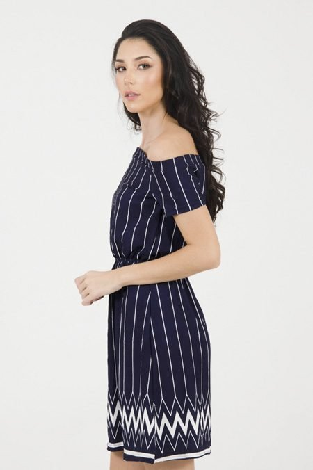 43914575f Vestido Malha Crepe Listrado Azul marinho – AMAMODA