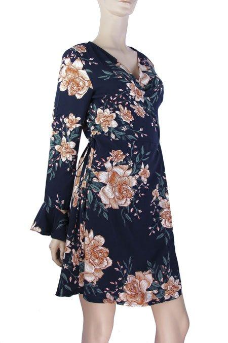 b695370e2 Vestido Manga Longa Transpassado Estampa Floral Azul Marinho – AMAMODA