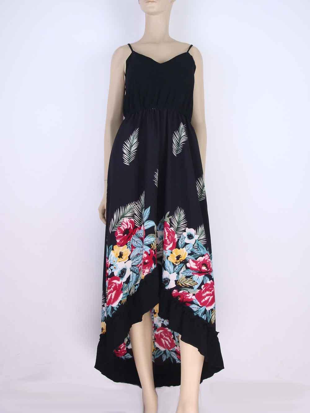 522a1aba4 Vestido Longo Crepe Estampa Floral Babado Preto – AMAMODA