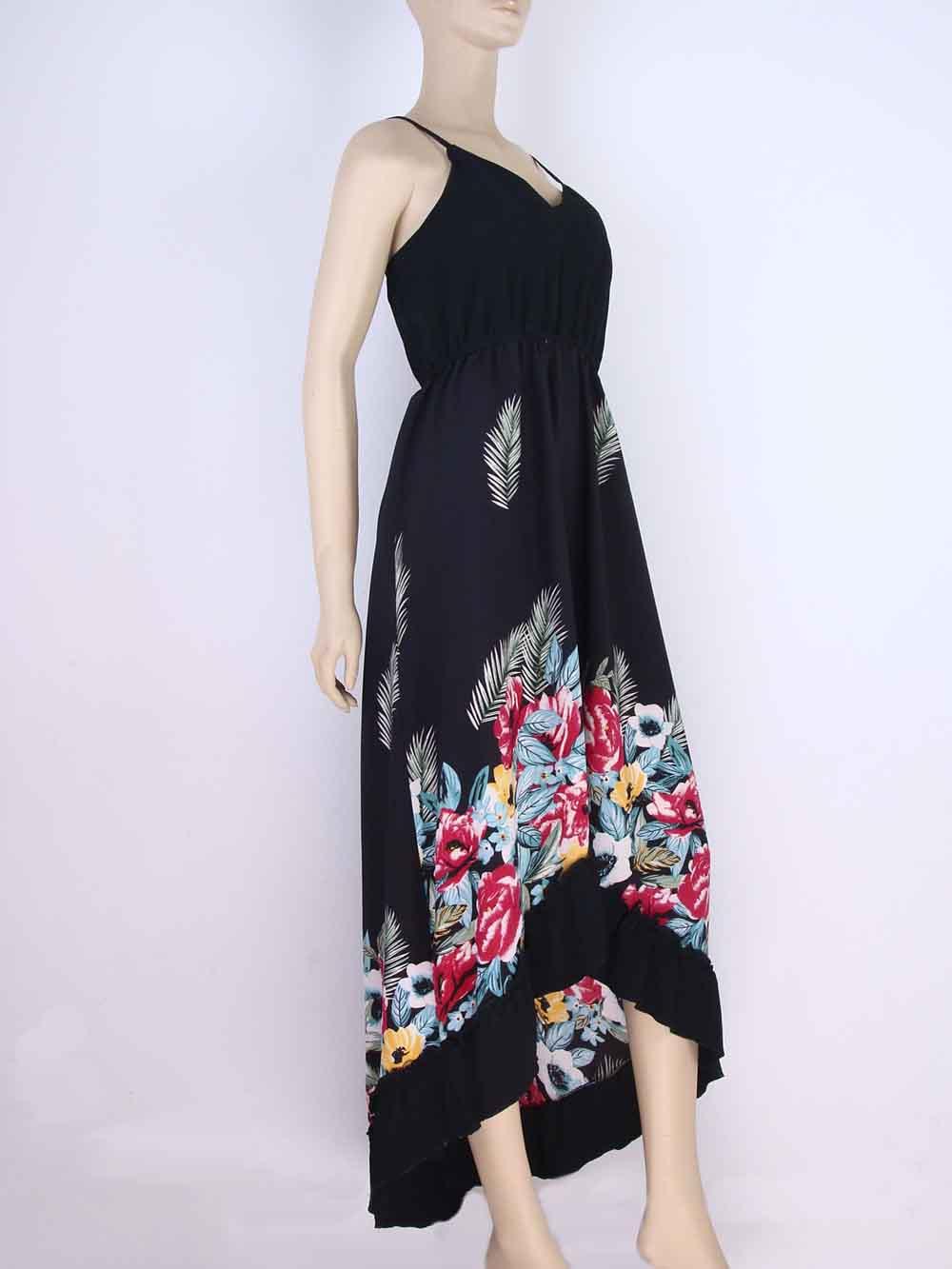 de914c15e Vestido Longo Crepe Estampa Floral Babado Preto – AMAMODA