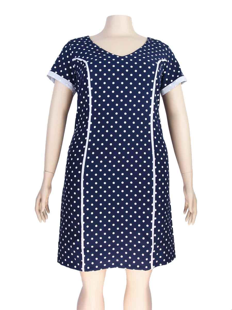 bed886eb3 Vestido Tubinho Plus Size Malha Crepe Estampa Poá Azul Marinho – AMAMODA