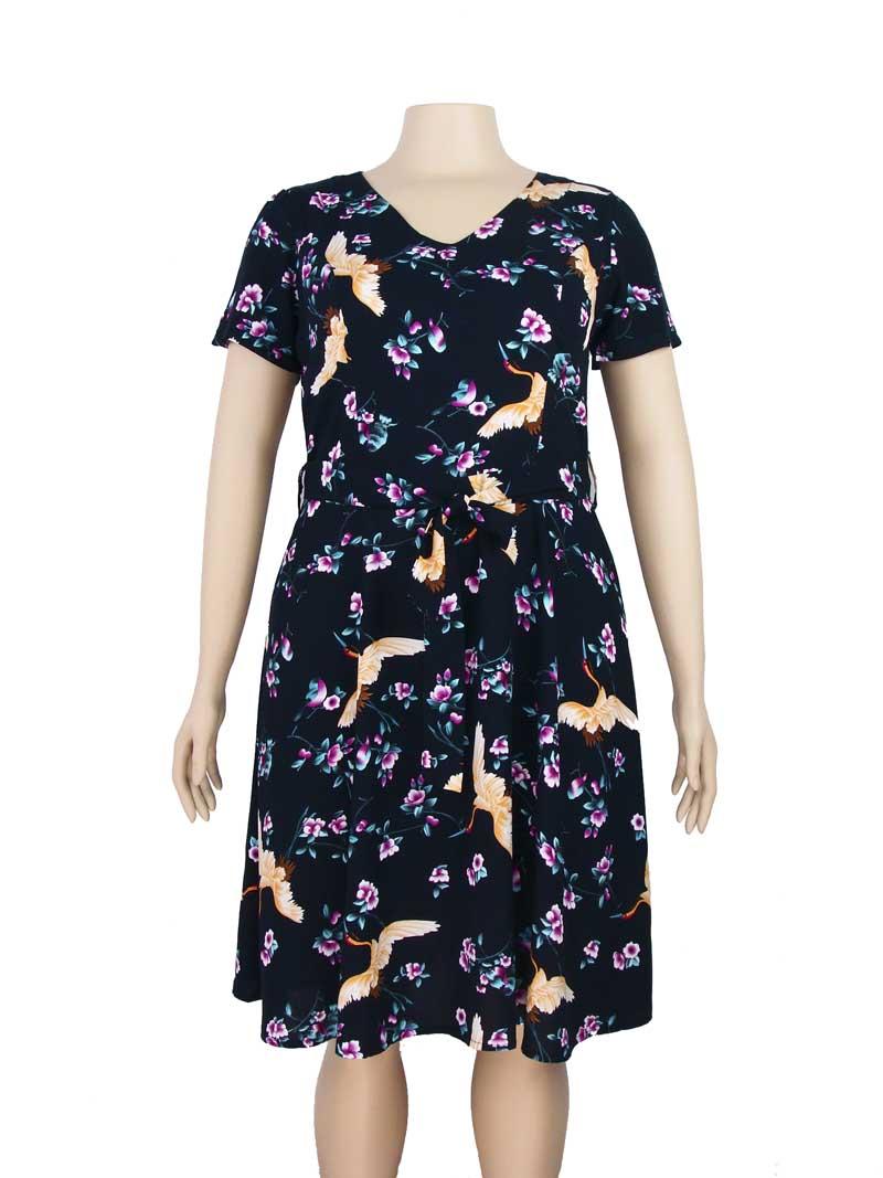 64a51378b172 Vestido Moda Evangélica Estampa Floral Preto – AMAMODA