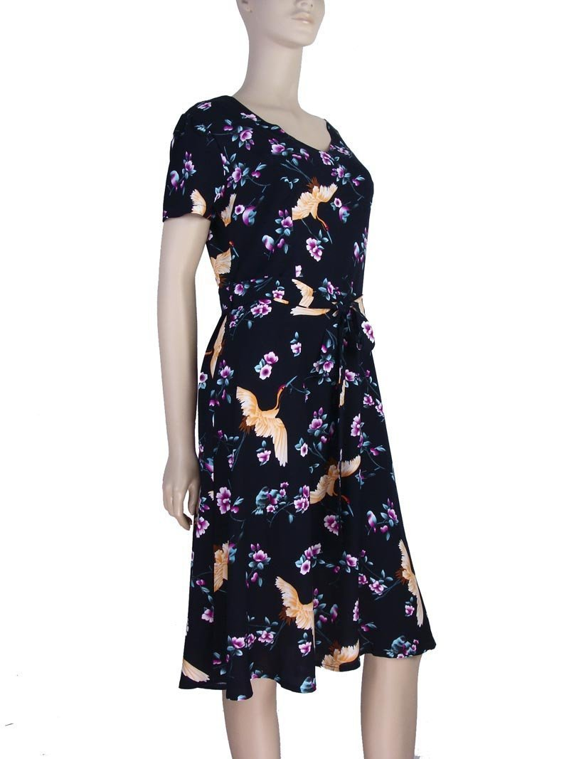04d2ad3b6 Vestido Moda Evangélica Estampa Floral Preto – AMAMODA
