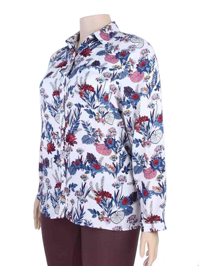 28a61f2a1 Camisa Feminina Viscose Estampada Plus Size Branco – AMAMODA